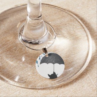 Whimsical Cat under Umbrella Wine Charm