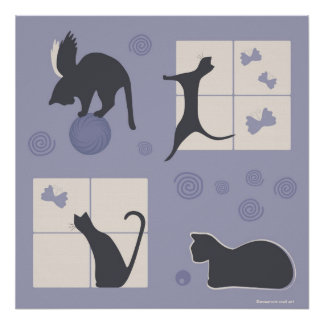 Whimsical Cats Poster