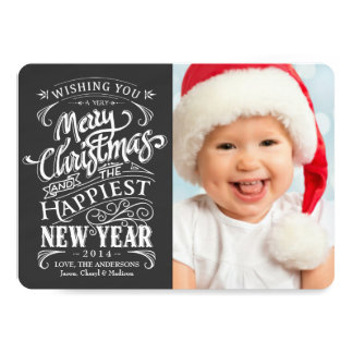 Whimsical Chalkboard Merry Christmas Photo Cards 13 Cm X 18 Cm Invitation Card