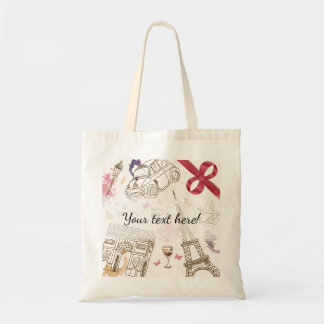 Whimsical Chic Girly Pink Paris Tote Bag