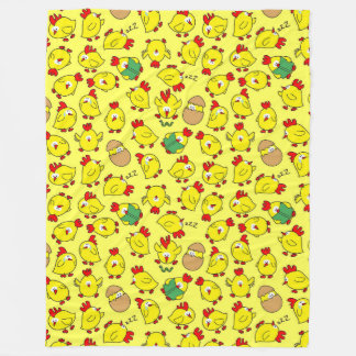 Whimsical Chickens on Fleece Blanket