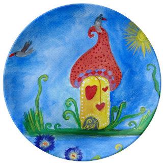Whimsical Child Illustration e Porcelain Plate