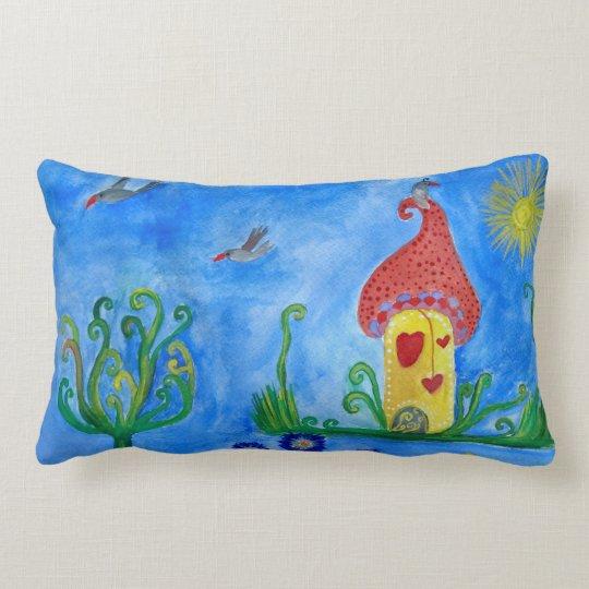 Whimsical Child Illustration Lumbar Pillow