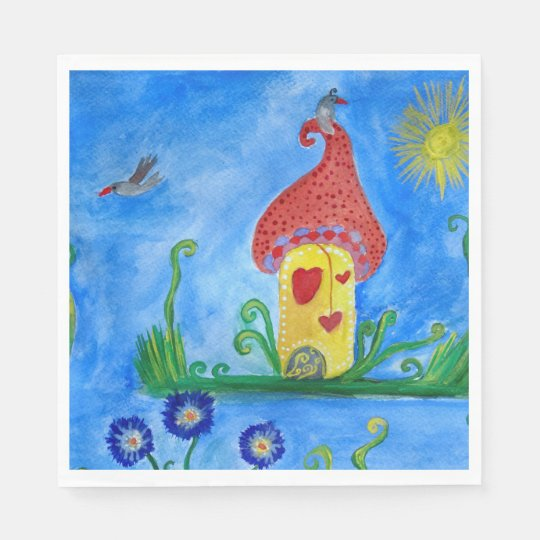 Whimsical Child Illustration  Paper Napkins