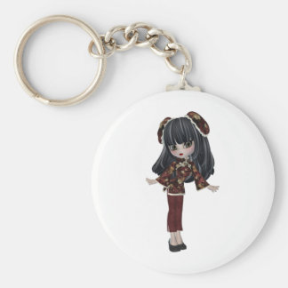 whimsical CHINA DOLL Basic Round Button Key Ring