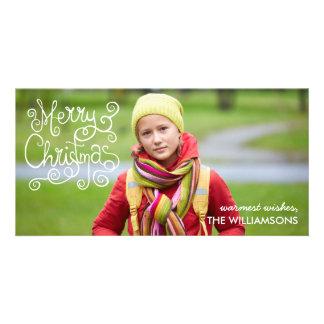 Whimsical Christmas Calligraphy Modern Swirl Photo Card