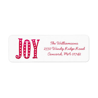 Whimsical Christmas Doodled Joy Custom Return Address Label