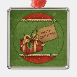 Whimsical Christmas gift with bow and tag Christmas Ornament