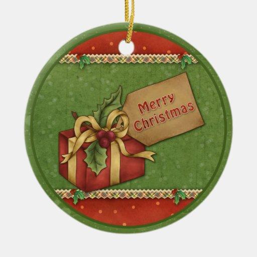 Whimsical Christmas gift with bow and tag Christmas Tree Ornament