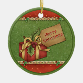 Whimsical Christmas gift with bow and tag Round Ceramic Decoration