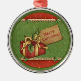 Whimsical Christmas gift with bow and tag Silver-Colored Round Decoration