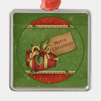 Whimsical Christmas gift with bow and tag Silver-Colored Square Decoration