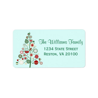 Whimsical Christmas Ornament Tree Address Labels