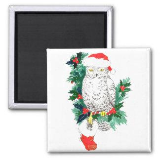 Whimsical Christmas Owl and Stocking designed Magnet