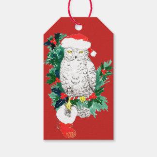 Whimsical Christmas Owl Stocking and Santa Hat Gift Tags