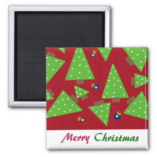 Whimsical Christmas Trees and Decorations Refrigerator Magnet