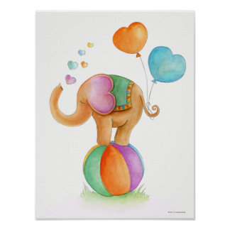 Whimsical circus elephant on a ball nursery poster