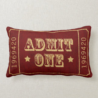 Whimsical Circus Theatre Ticket Admit One Cushion