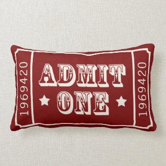 Whimsical Circus Theatre Ticket Admit One Lumbar Cushion