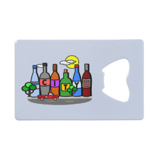 Whimsical City Scene Bottles Truck Bottle Opener