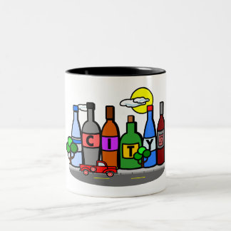 Whimsical City Scene with Bottles and Pick Up Mug
