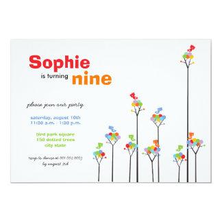 Whimsical Color Dots Birds Tree Kids 9th Birthday 13 Cm X 18 Cm Invitation Card