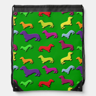 Whimsical Colorful and Fun Dachshund dogs Pattern Backpacks