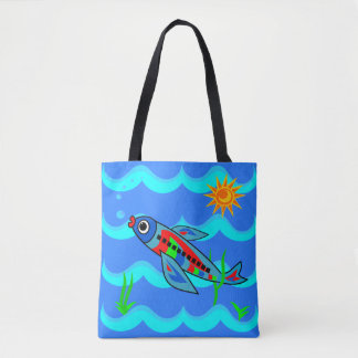Whimsical Colorful Fish Airplane Tote Bag