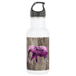 Whimsical Colorful Floral Elephant on Wood Design 532 Ml Water Bottle