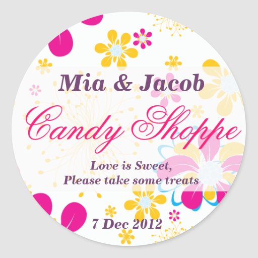 Whimsical Colorful flower Candy Shoppe Sticker