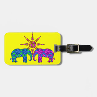 Whimsical Colorful Paisley Elephants In The Sun Luggage Tag