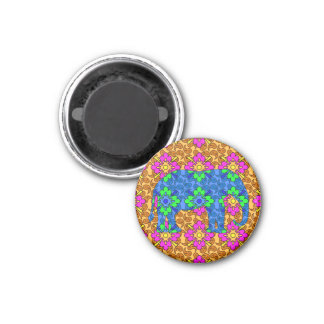 Whimsical Colorful Paisley Print Circus Elephant Magnet