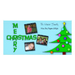 Whimsical Colourful Christmas Tree Triple Photos Personalized Photo Card