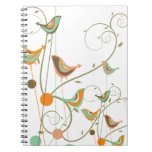 Whimsical Colourful Summer Birds Swirls Notebook