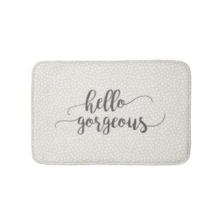 Whimsical Confetti Dots on Gray Hello Gorgeous Bath Mat