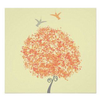 Whimsical Coral and Grey Tree - matching invites Poster