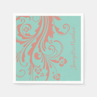 Whimsical Coral and Mint Chic floral Disposable Serviette