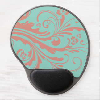 Whimsical Coral and Mint Chic floral Gel Mouse Pad
