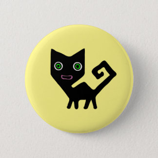 Whimsical Crooked Little Green Eyed Black Cats 6 Cm Round Badge