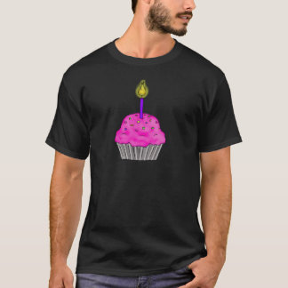 Whimsical Cupcake with Lit Candle Sprinkles T-Shirt