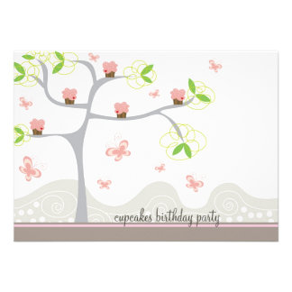 Whimsical Cupcakes Tree Butterflies Sweet Birthday Announcements
