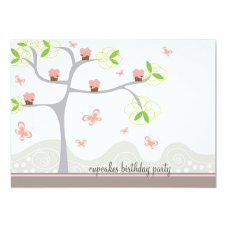 Whimsical Cupcakes Tree Butterflies Sweet Birthday 11 Cm X 16 Cm Invitation Card