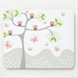Whimsical Cupcakes Tree Butterflies Sweet Birthday Mouse Pad