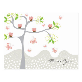 Whimsical Cupcakes Tree Butterflies Sweet Birthday Post Card