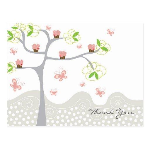 Whimsical Cupcakes Tree Butterflies Sweet Birthday Post Card
