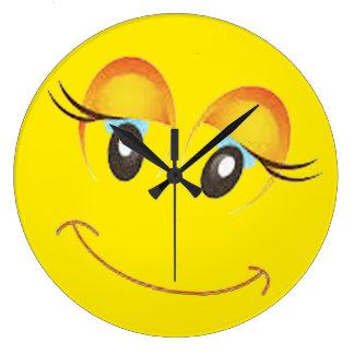 whimsical cute cheekybeautiful lady  emoji clock