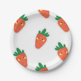 Whimsical cute chibi vegetable pattern 7 inch paper plate