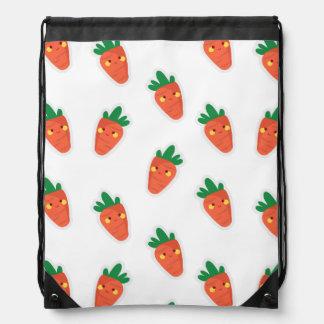 Whimsical cute chibi vegetable pattern drawstring bag