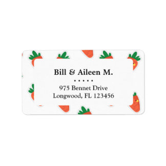 Whimsical cute chibi vegetable pattern label
