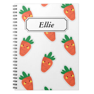 Whimsical cute chibi vegetable pattern notebook